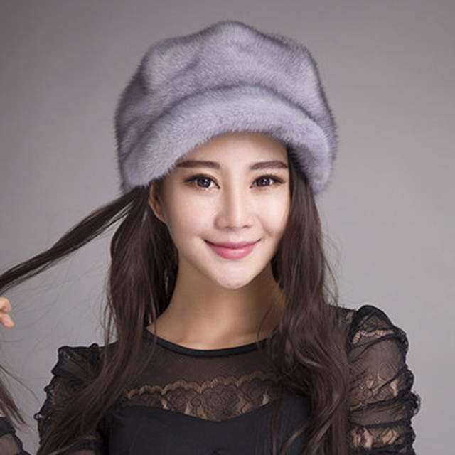 Genuine mink fur hat female models earmuffs winter hat octagonal Bei Leipi entire leather cap Specials