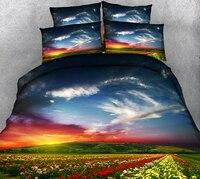 California king Luxury 3D Bedding Set Twin Full Queen Rainbow Bed Sheet Double Bed set Duvet/Quilt Cover Pillowcase