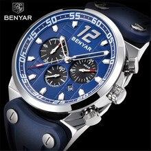 Reloj de pulsera BENYAR de la mejor marca a la moda de lujo de silicona con cronógrafo militar resistente al agua de cuarzo para hombre, reloj Masculino