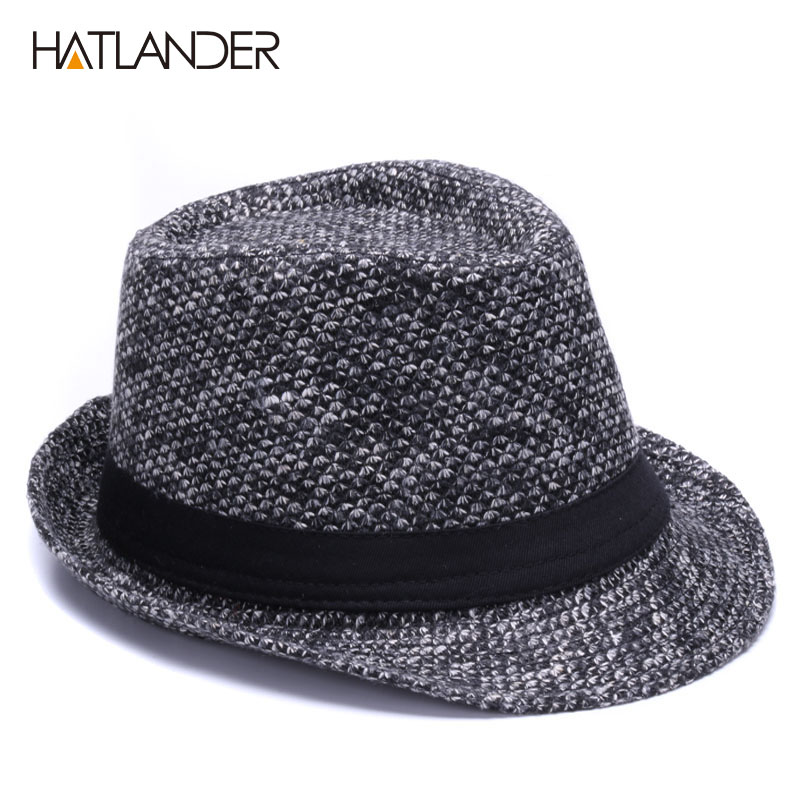 6bc70f2c564 HATLANDER Brand Retro Billycock Fedora hat woolen felt mens winter Jazz cap  outdoor gentleman top hats Derby chapeau fedoras-in Fedoras from Apparel ...