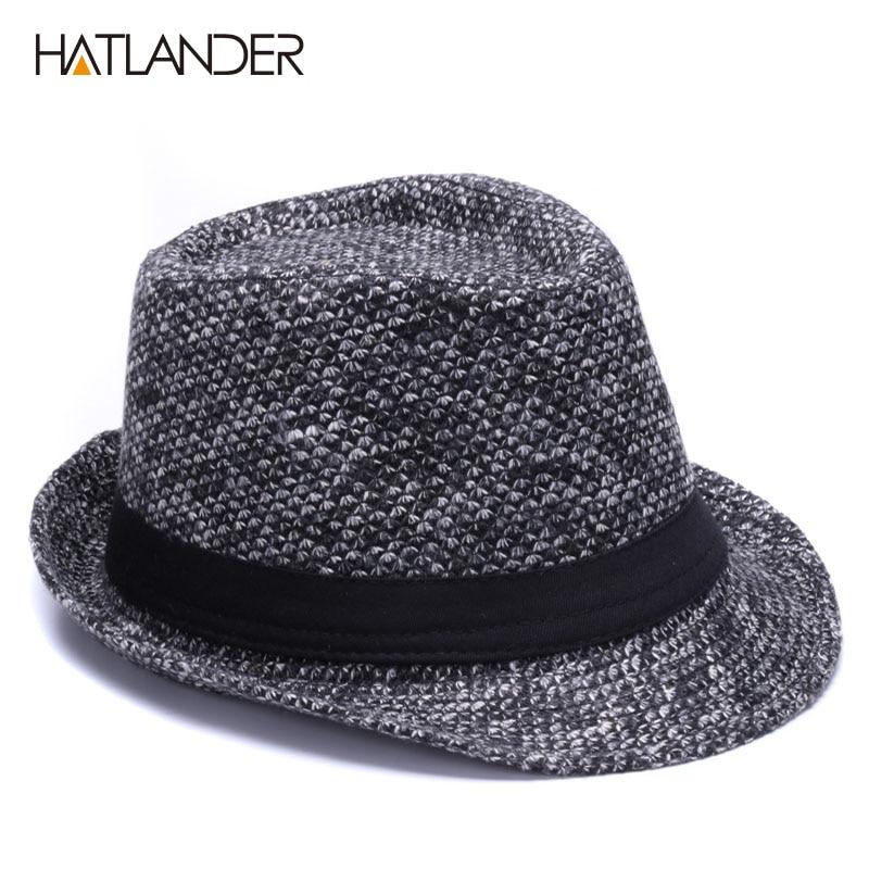 141925743e4 HATLANDER Brand Retro Billycock Fedora hat woolen felt mens winter Jazz cap  outdoor gentleman top hats Derby chapeau fedoras-in Fedoras from Apparel ...
