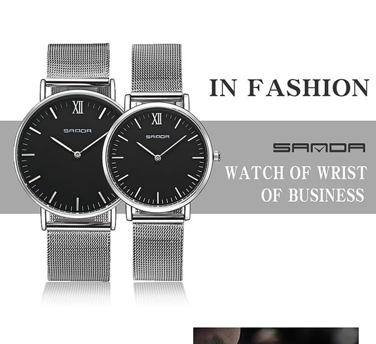 ef2e3f1b0edb Sanda hombres reloj de marca de lujo ultra fino de acero inoxidable de  malla de banda negocios famosa Relojes de cuarzo reloj masculino Relogio  Masculino