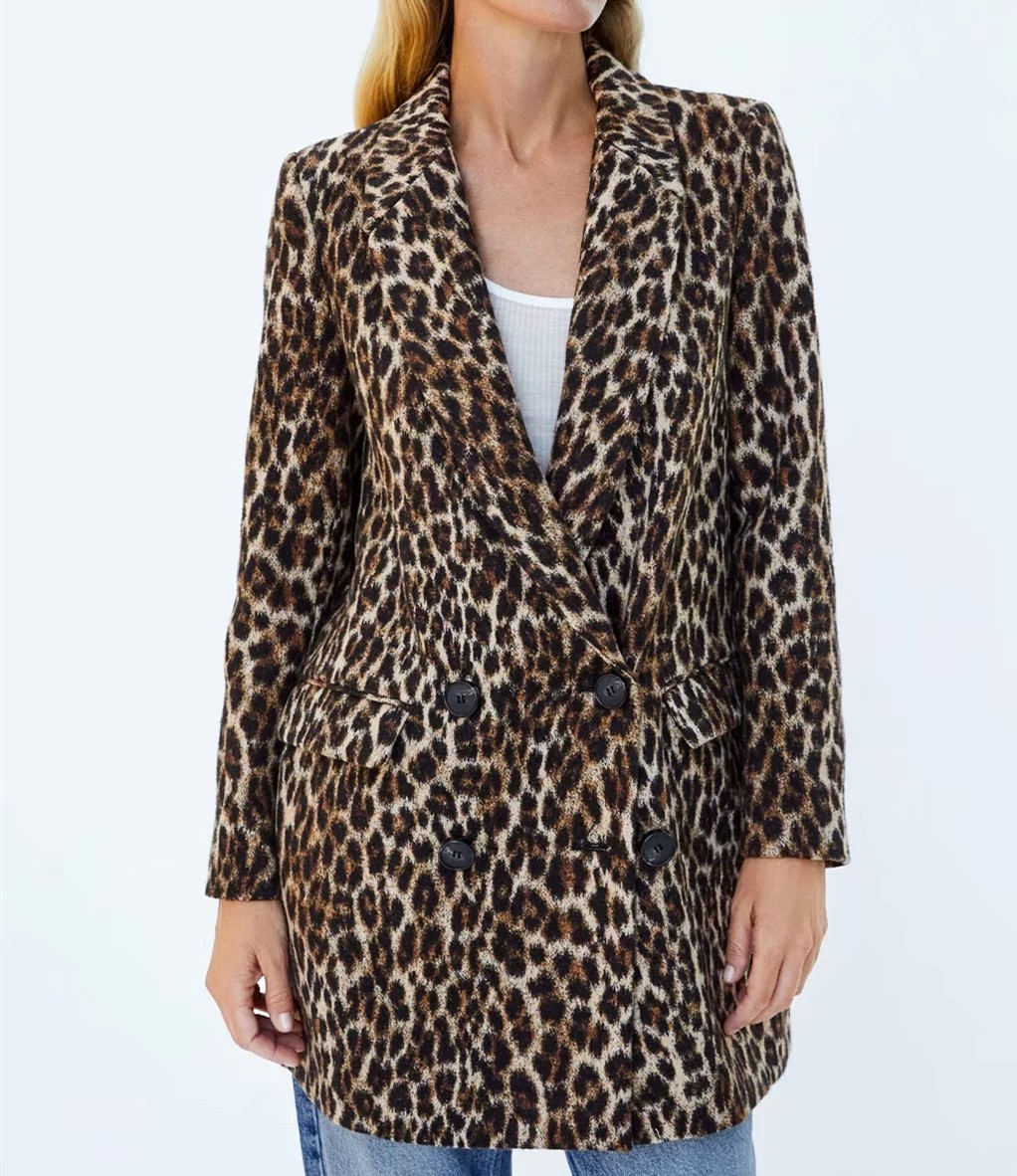 A0907T1 Europe and the United States fall 2018 new double-breasted leopard long coat 1497 #