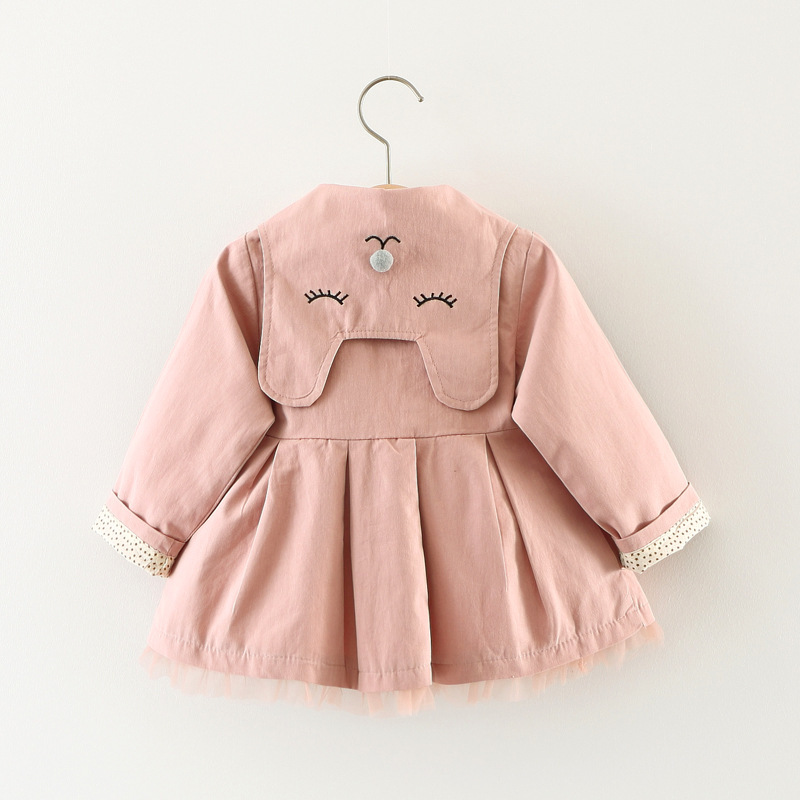 Scsech New Autumn Baby Girls Jacket Cotton Cat Embroidery Windbreaker Outwear Toddler Kids Bow Coat Children Clothing S8722 (1)