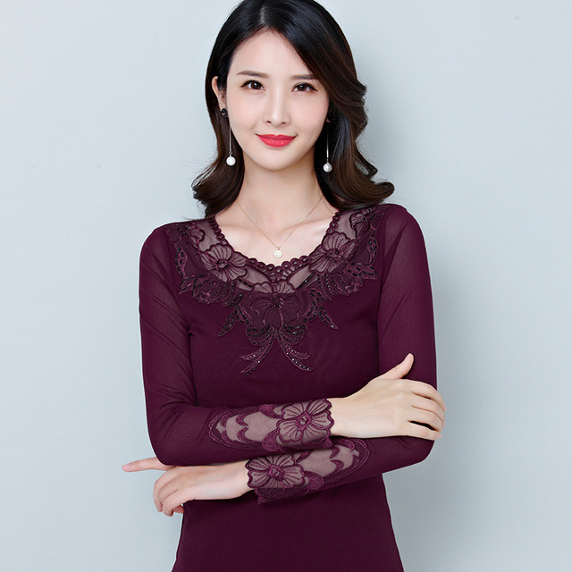 b8cbd02bab4f1 Hot Women Mesh Gauze Long Sleeve Lace Underwear Tops For Autumn Hollows  Fashion Round Neck Plus Size Thermals T-shirt Burgundy