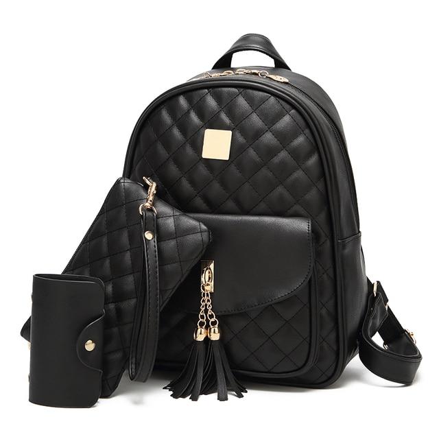 3 Pcs Bear Backpack Women Bag Diamond Lattice School Bags For Girls  Backpacks For Women 2018 New Tassel Shoulder Bags Sac A Dos 8ea9a078b8567