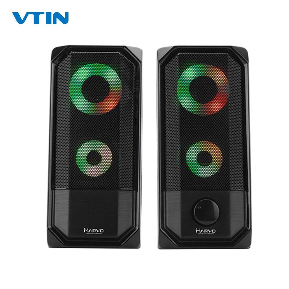 Nouveau coloré lumières ordinateur haut-parleur 2.0 RGB haut-parleur contrôle tactile lumière Portable Mini haut-parleur Super stéréo basse pour le jeu à la maison