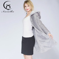 Newowlbie Winter New Rex Rabbit Down Feather Coat For Young Lady Two Sides Can Wear Real