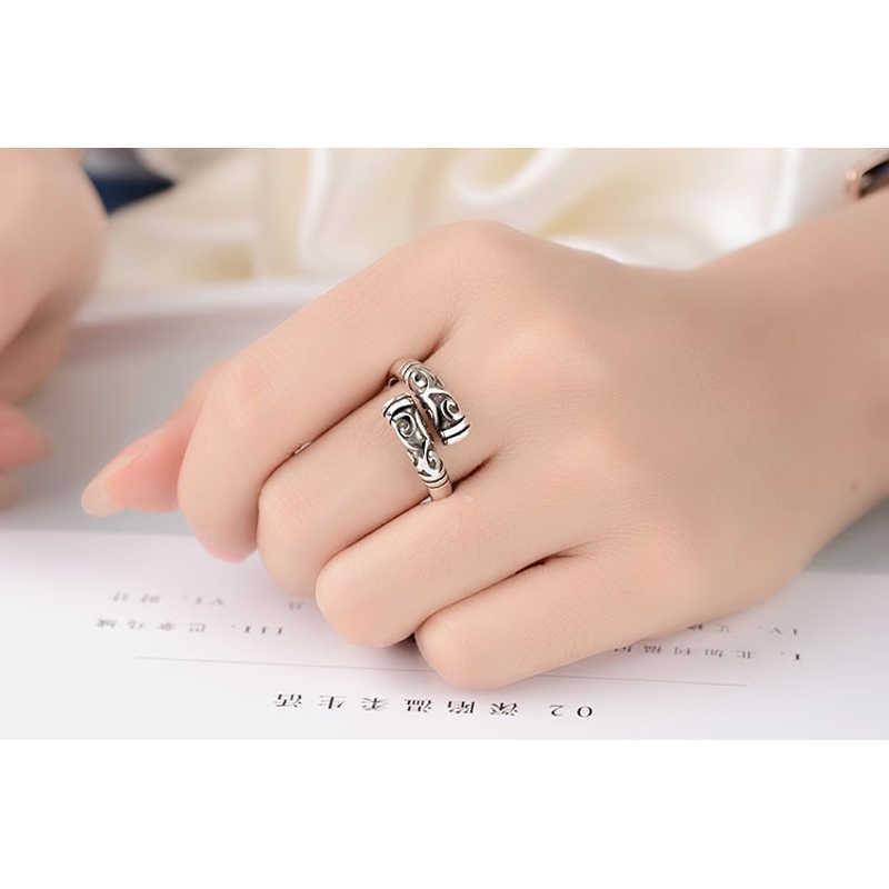 โปรโมชั่นใหญ่ VINTAGE แหวน 925 เงินสเตอร์ลิงเปิดแหวนนิ้วมือเครื่องประดับแฟชั่น PARTY อุปกรณ์เสริม