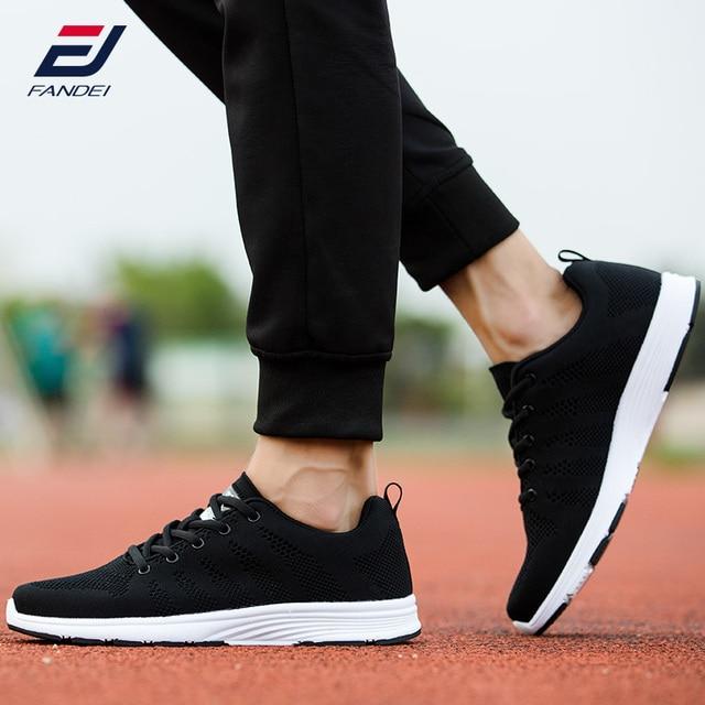 Fandei Hitam Sepatu Lari Udara Mesh Pria Sepatu Renda Up Gratis Flexible  Light Sepatu Olahraga Pria 9c04340f57