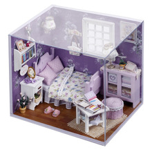 Cutroom DIY Handmade 1 32 Miniature Dollhouse Lovely Cute Dreaming Kit with Cover LED Light Sweet