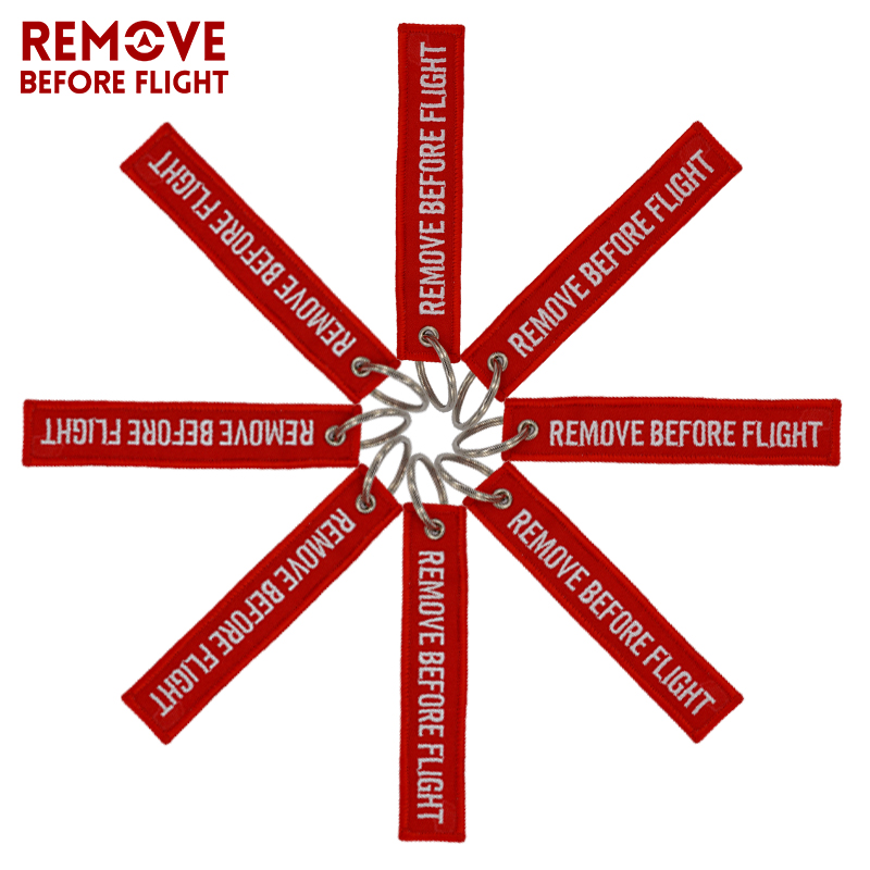 Remove Before Flight Key Chain Chaveiro Red Embroidery Keychain Ring for Aviation Gifts OEM Key Ring Jewelry Luggage Tag Key Fob2 (5)
