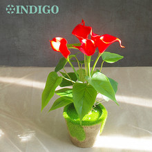 INDIGO Red Calla Bouquet (18pcs leaves + 5 Flowers) Real Touch Wedding Display Flower Artificial Home Free Shipping