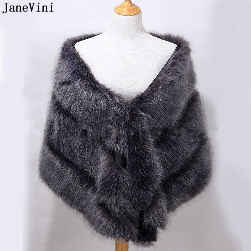 JaneVini 2019 Elegant Gray Bridal Warm Shawls Bride Faux Fur Wraps Bolero Winter Women Warm Wedding Cape Jackets Blouson Femme