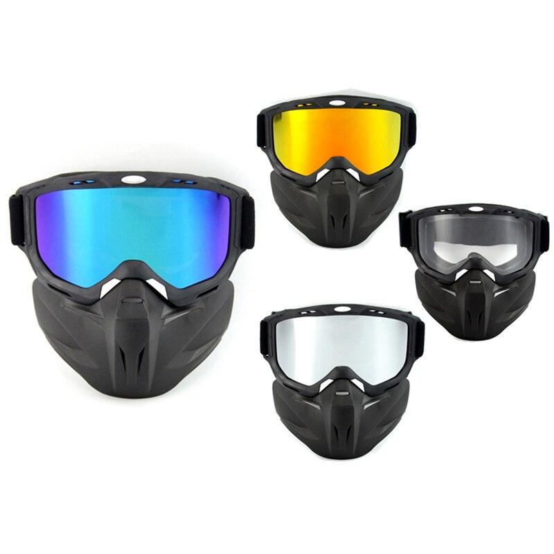 Ski Bike Motorcycle Camouflage Face Mask Goggles Motocross Motorbike Motor Open Face Detachable Goggle Helmets Vintage Glasses