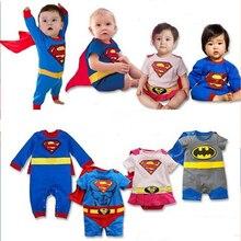 Детская одежда мальчика Комбинезон летние Дети Мальчиков Одежда Комбинезон Бэтмен Супермен Халате Хэллоуин Рождество Костюм Подарок Мальчиков Комбинезон