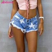 European Style Stars Print Women Shorts Fashion Frayed Tassel Denim Shorts Washed Sexy Low Waist Super