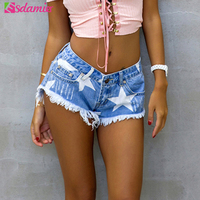European Style Stars Print Women Shorts Fashion Frayed Tassel Denim Shorts Washed Sexy Low Waist Super