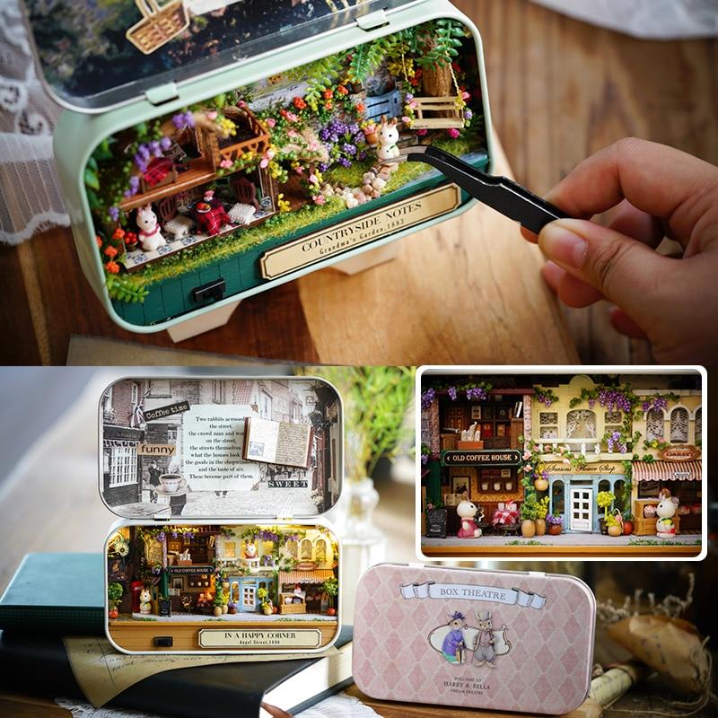 Box Theatre DIY Modèle Maison de Poupée Miniatures Meubles En Bois Miniature Dollhouse Miniatures Jouets Pour enfants Campagne Notes