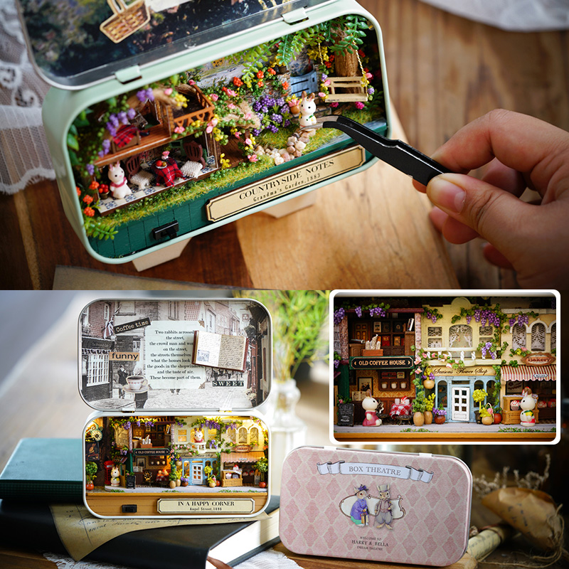 Box Theatre DIY Model Doll House Miniatures Furnitures Wooden Miniature Dollhouse Miniatures Toys For children Countryside Notes