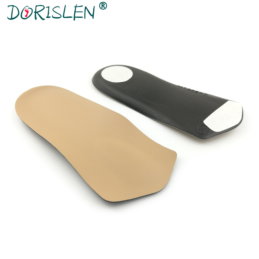 DORISLEN 3/4 Length Leather Orthotic Insoles For Women Flat Feet Forefoot Massage Shoes Pads