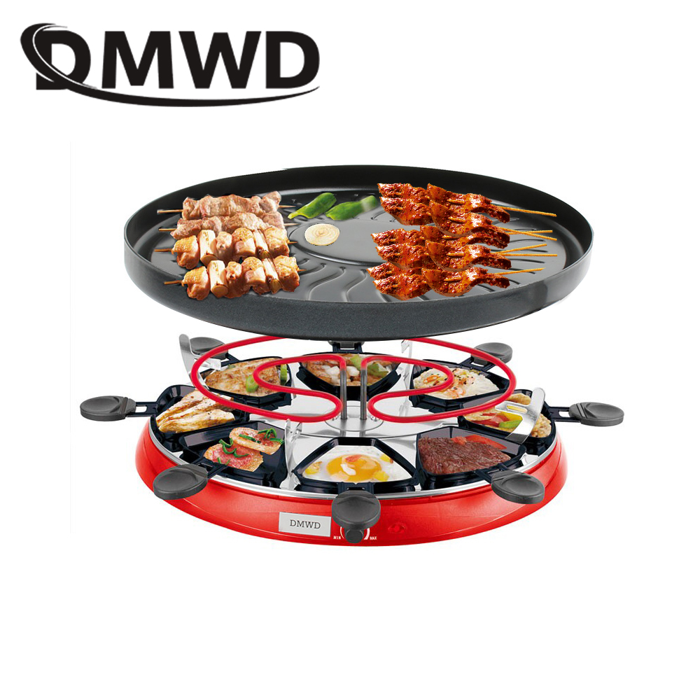 DMWD Double Layers Smokeless Raclette Grilldle baking oven Electric BBQ Grill Heating Stove pan Barbecue Iron non-stick Plate EU 1200w 220v non sticky family barbecue electric raclette grill smokeless grill raclette grill electric griddle