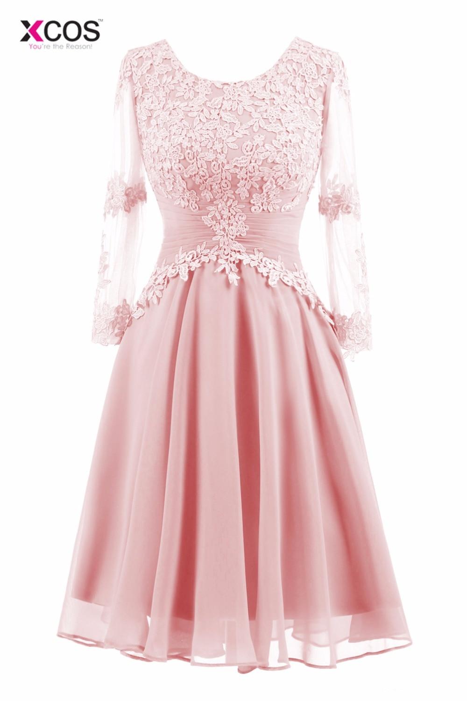 XCOS Pink Short Bridesmaid Dress Long Sleeve Elegant Lace ...