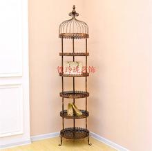European-style iron cage shelf, landing clothing store bag shoe living room flower shelf jewelry retro display