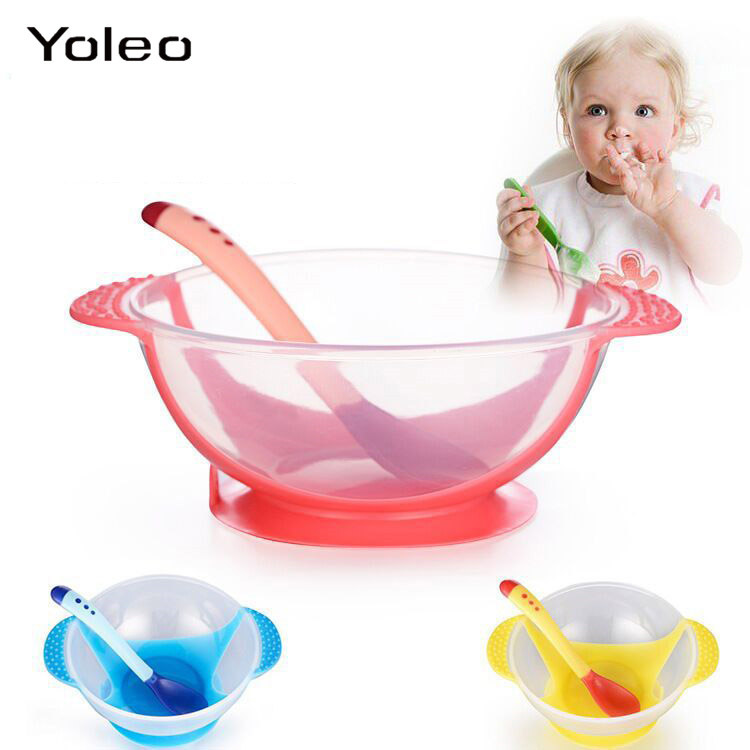 Baby Tableware Dinnerware Suction Bowl with Temperature Sensing Spoon Baby Food Feeding Bowl Baby Learning Dishes Dinnerware Set