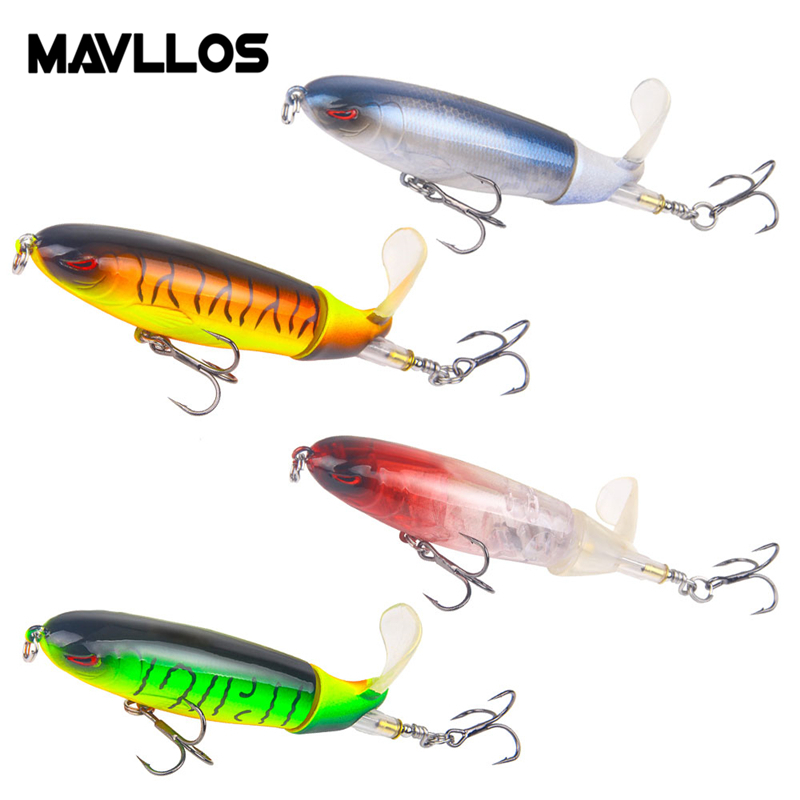 Whopper  Topwater Floating Fishing Lures Rotating Tail for Bass-8 Colors