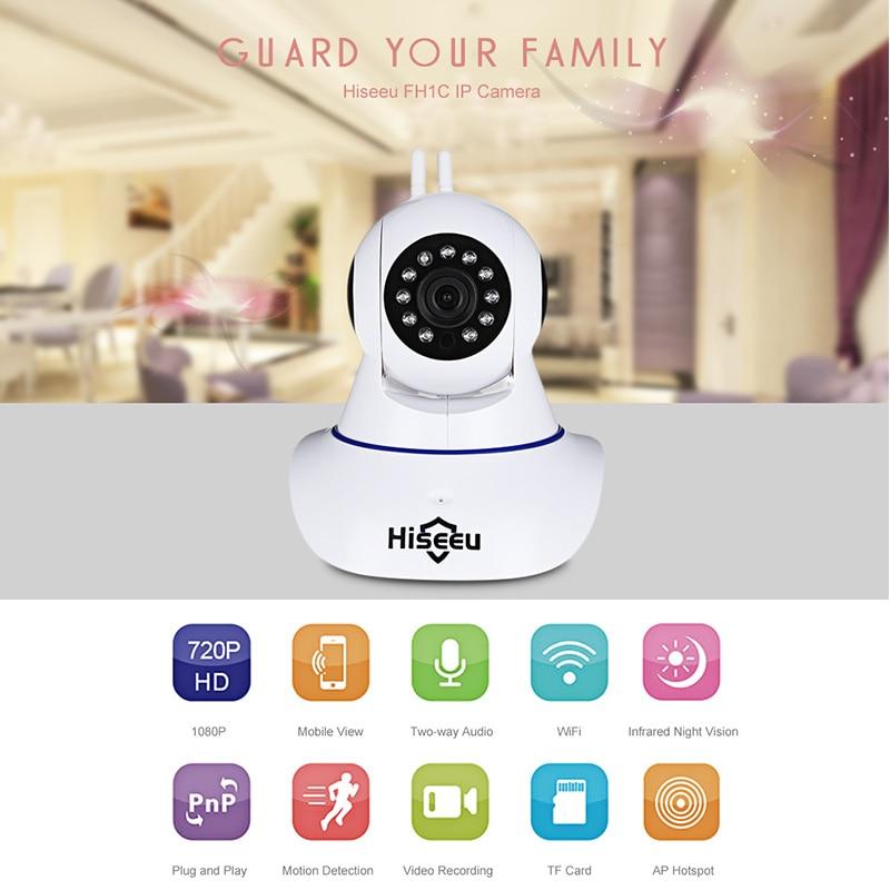 Hiseeu Full HD IP Камера Wi-Fi Беспроводной Камеры Скрытого видеонаблюдения 1080 P P2P безопасности дома инфракрасный Видеоняни и радионяни CCTV Камера FH-1C