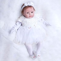 22 inch Newborn Dolls Lifelike Bebe 55cm Reborn Dolls White Dress Princess Silicone Baby Realistic Doll Kids Playmates