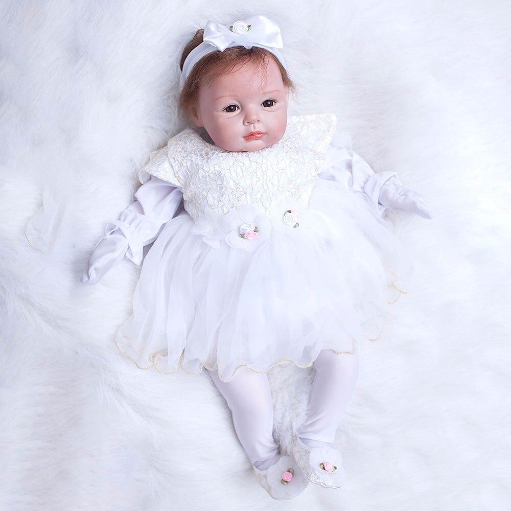 22 pouces nouveau-né poupées réaliste Bebe 55 cm Reborn poupées blanc robe princesse Silicone bébé réaliste poupée enfants Playmates