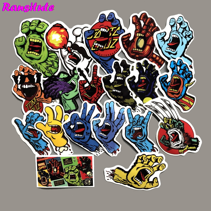 R166 19pcs/set Devil's Hand Funny Sticker DIY Luggage Laptop Skateboard Motorcycle Mobile Phone Waterproof Sticker