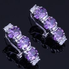 Rare Oval Purple Cubic Zirconia White CZ 925 Sterling Silver Clip Hoop Huggie Earrings For Women V0921