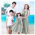 2017 estilo de Verão da família roupas combinando vertical stripe bohemian maxi vestidos de mãe e filha Pai e filho Camiseta e calças de praia