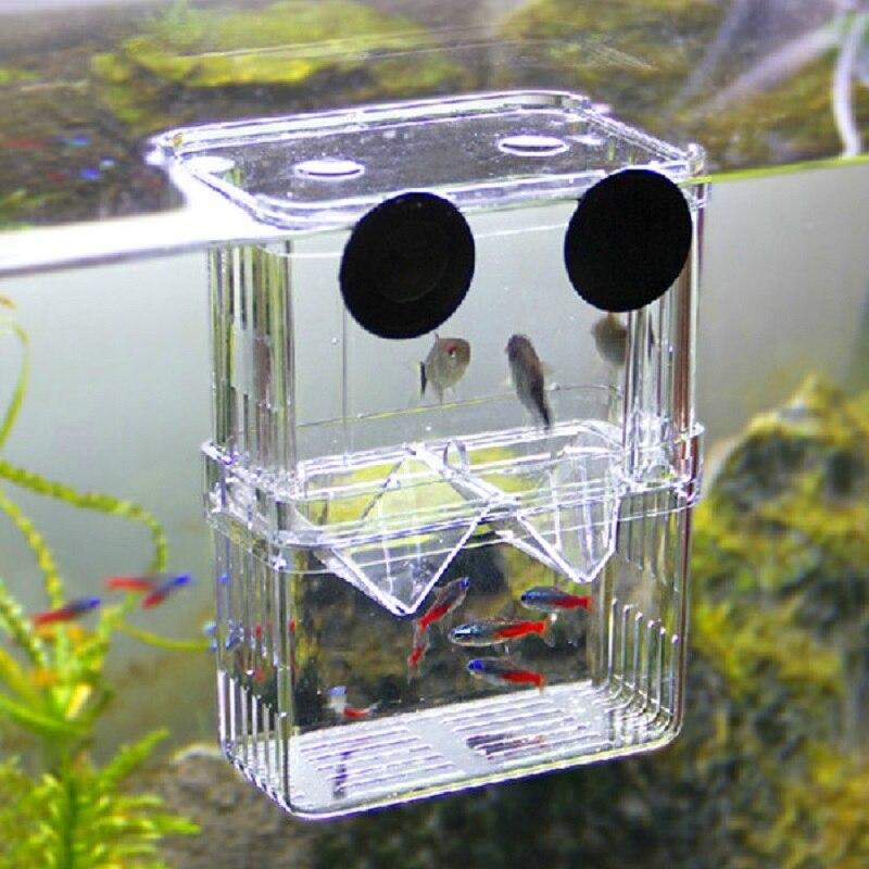 1Pc 10.5*7.5*13.5 Cm Acrylic Fish Breeding Box Isolation Box Fish Tank Aquarium Breeder Box Double Guppies Incubator Aquarium