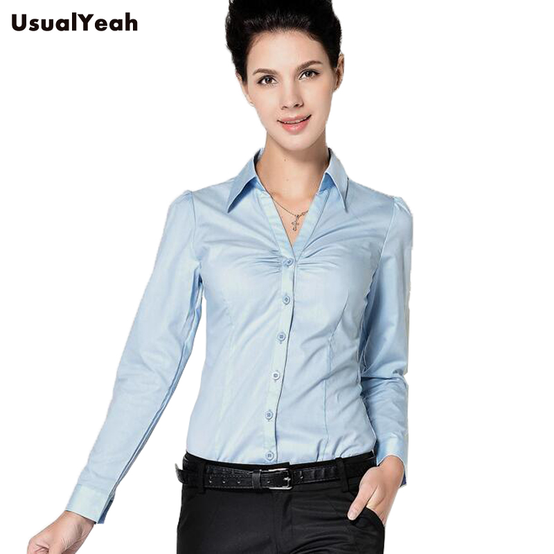 New Ladies Long Sleeve Body Shirt Women Slim Fit Turn-down Collar Formal V neck White Blue Blouse For Work Wear SY0253 S-XXL