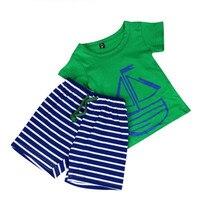 2PCS High Quality Kids Boys Printing Short Sleeve T-Shirt Stripes Pants Set Clothing Dropshipping Free Shipping ,XL30