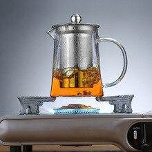 Маленький стеклянный чайник из нержавеющей стали для заварки Улун, черный контейнер с подогревом, хороший прозрачный чайник, квадратный фильтр, корзины