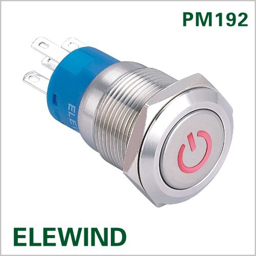 ELEWIND 19mm illuminated power symbol Latching push button(PM192F-11ZDT/R/12V/S with illuminated power symbol)