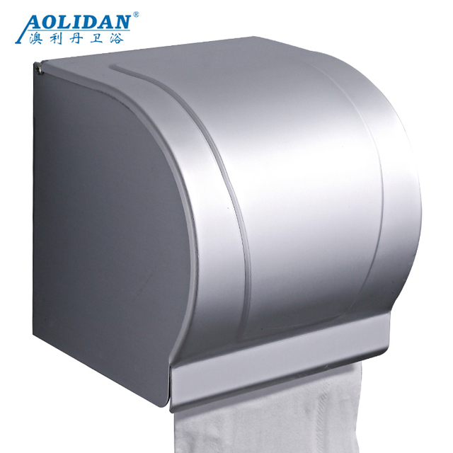 Space Aluminum Toilet Paper Towel Box Toilet Shelf Fully Closed Paper Roller Finger Box Waterproof Dust-proof Semi-circular Pape