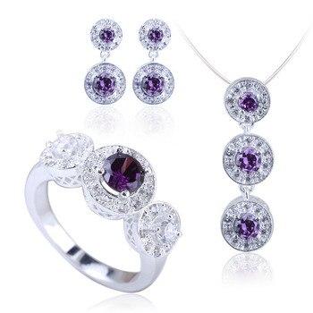 925 Sterling Silver Jewelry Set Pendant Necklace Earrings Ring Purple Cubic Zirconia Bijoux Femme SET001