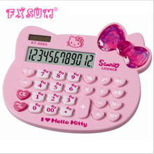 2017 FXSUM Solar Calculator Lovely KT Cat Calculator Kitty Big Bowknot Calculator