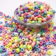 100pcs 6-20mm Bright Colors Acrylic Spacer Beads Big Hole Round Fits for Handmad Diy Jewelry Making Bracelet Accessories