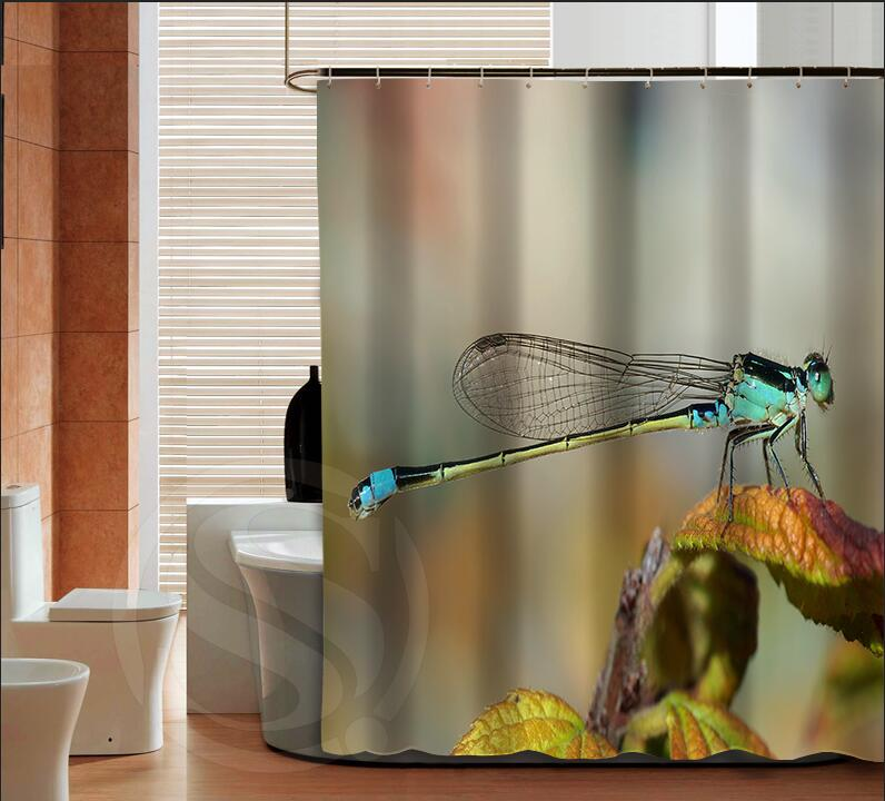warm tour fashion dragonfly high quality custom fashion shower curtain polyester curtain with