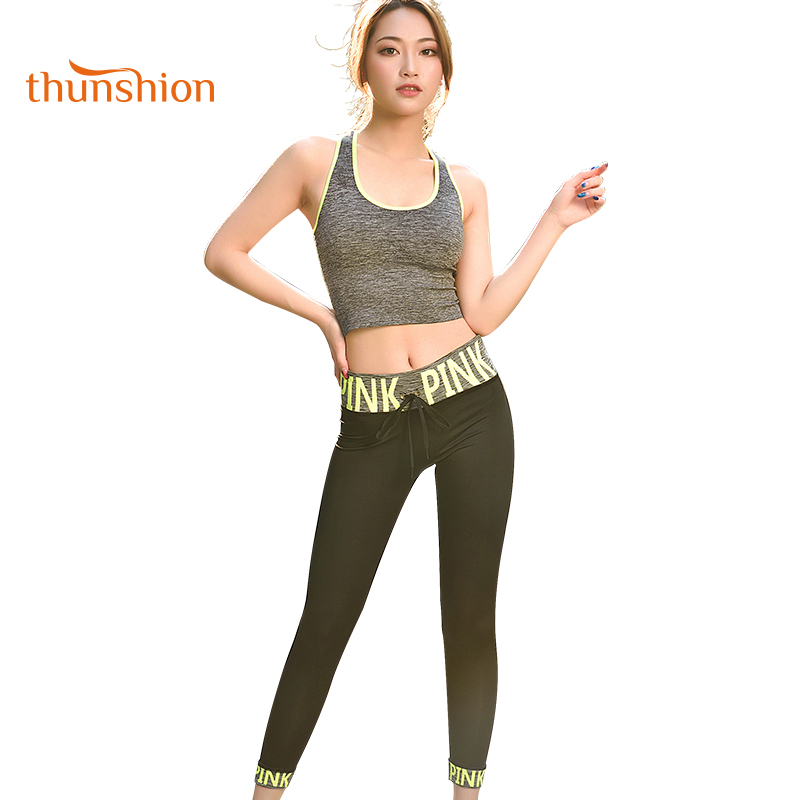 THUNSHION 2 Pieces <font><b>Yoga</b></font> Set Women <font><b>2018</b></font> Summer New Breathable Gym Clothes Super Elastic Tights <font><b>Sport</b></font> Suit <font><b>Fitness</b></font> <font><b>Sexy</b></font> Sportswear image