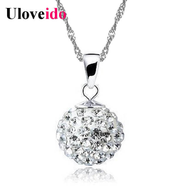 6557bf97812 Uloveido Ball Collar E Ciondoli Pink Crystal Flower Necklace Red Cubic  Zirconia Jewelry Rhinestone Pendant Women Accessories-in Pendant Necklaces  from ...