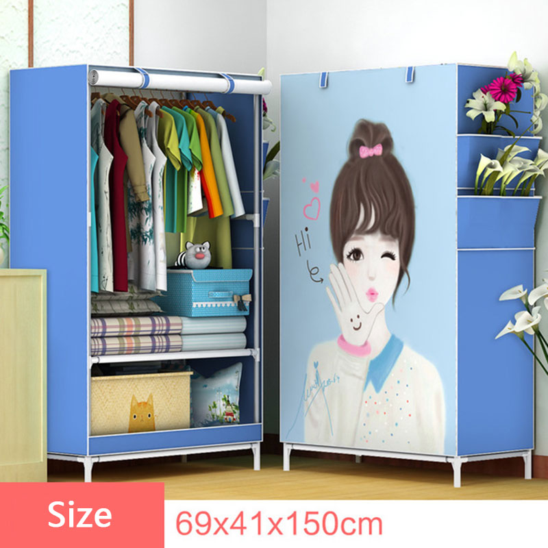 3D Cartoon Pattern Folding Cloth Wardrobe Home Bedroom Clothes Storage Cabinet DIY Assembly Fabric Wardrobe Closet Furniture3D Cartoon Pattern Folding Cloth Wardrobe Home Bedroom Clothes Storage Cabinet DIY Assembly Fabric Wardrobe Closet Furniture