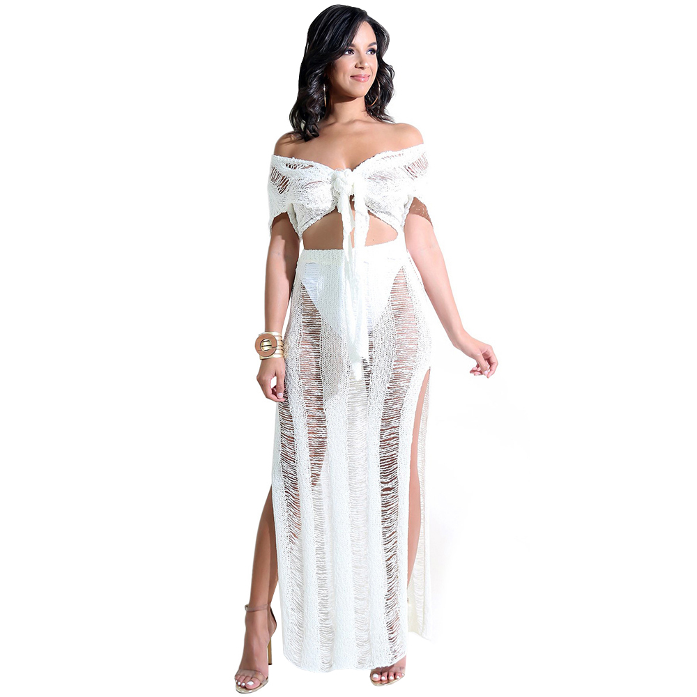 2 Piece Set Knitted Long Dress Women V Neck Short Sleeve Lace Up Split Maxi Dress Sexy Clubwear See Through Summer Beach Dresses